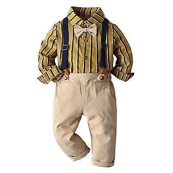 Boys Gentleman Podvazky Kalhotový oblek, Klopa Pruhovaná košile s elastickým pasem