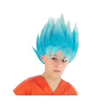 Blauwe pruik Goku Saiyan Super Dragon Ball Kids