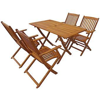 5 piezas plegables al aire libre comedor conjunto sólido madera de acacia