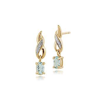 Gemondo 9ct geel gouden 0,46 ct Aquamarine & Diamond ovale Drop Oorbellen