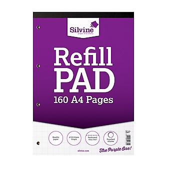 Silvine A4 Refill Pad 2-10-20 Graph (6 Packs Of 80 Sheets)