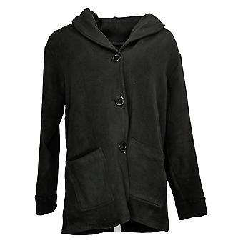 Cuddl Duds Women's Sweater Fleecewear Shawl Collar Cardigan Black A381798