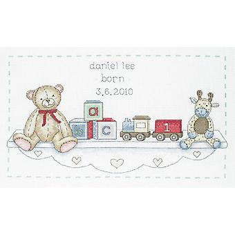 Anchor Counted Cross Stitch Kit: Birth Record: The Toy Shelf