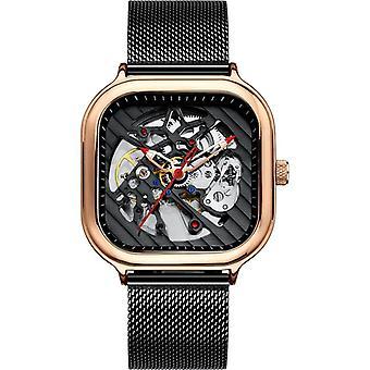 メン&アポスの自動時計、シリコーンストラップ、ホロースイススクエア