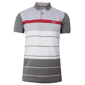 Hugo boss athleisure paddy 5 men's grey polo shirt