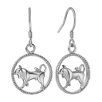 Autiga, earrings with zodiacal sign of water, women's and metal base, color: Silver Bull., cod. 4124-37962