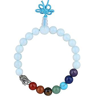 KYEYGWO 21 Mala Bracelet with Crystal Beads Chakra, unisex, Reiki Stretch and League, color: Opal (7 chakra with head of Ref. 0715444069147