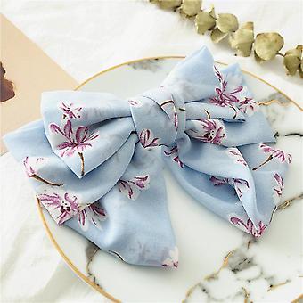 Girls bow floral chiffon barrettes hair ring
