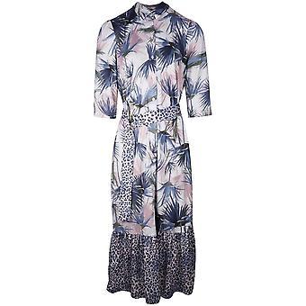 K-design 3/4 Sleeve Palm & Leopard Print Maxi Dress With Shirt Collar