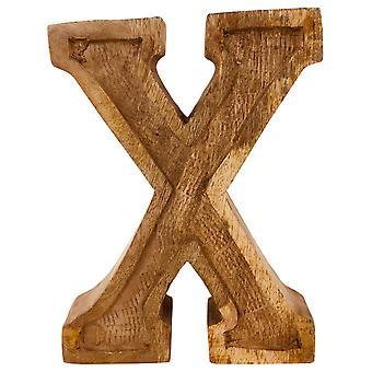 Litera X Ręcznie rzeźbione drewniane wytłaczane
