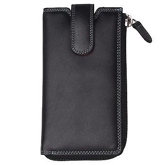 Caixa de óculos de couro macio com compartimento da carteira