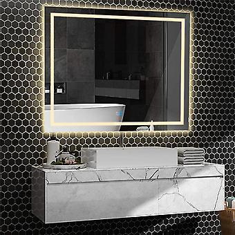 100x80 Større lysere led baggrundsbelyst tændt badeværelse Spejl Fogless Touch Switch
