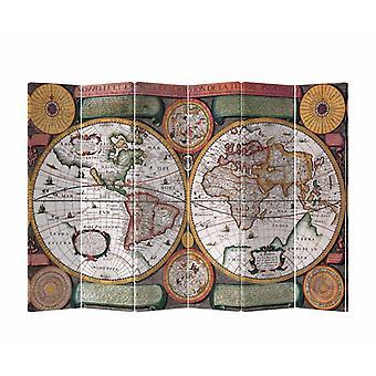 Fine Asianliving Room Divider Privacy Screen 6 Panel Vintage Carte du Monde L240xH180cm