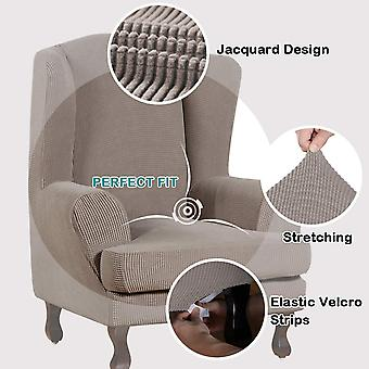 Stretch jacquard wingback chair covers slipcovers wing chair covers (base cover plus seat cushion cover, taupe)
