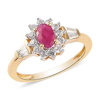 Ruby Halo Ring for Women in 14ct Gold Plated Silver  with Zircon, 1.47ct(T)