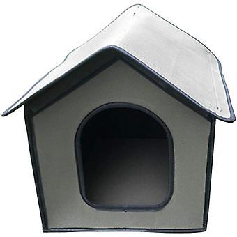 Outdoor Hundezwinger | Wasserdichtes Katzenhaus | Winter Outdoor Katzenhütte für Haustiere | Faltbarer ökologischer Unterschlupf für Katze / Kaninchen / kleiner Hund Grau