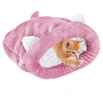 """שק שינה רך לחתול פליז, מיטת חיות מחמד חמה הניתנת לכביסה, כרית שמיכת תיק חיבוקים של מלונה לחתולים, מלונה סגורה, ורודה, 55 * 65 ס""""מ"""