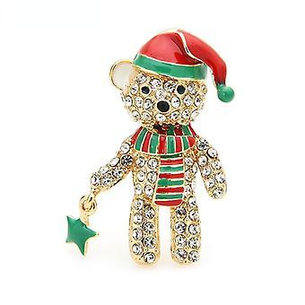 Ladies Rhinestone Bear Brooch, Enamel, Hat, Animal, Christmas Gift