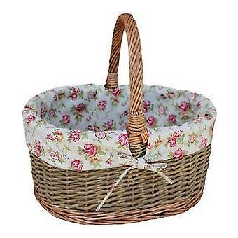 Garden Rose Lined Country Oval Wicker Shopping Basket