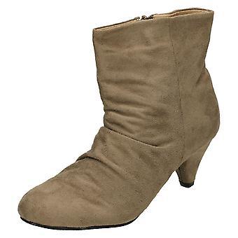 Damer plats på mitten av hälen Rouched Ankle Boot F5671