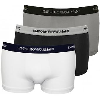 Emporio Armani Stretch Cotton 3-Pack Contrast Waist Boxer Trunks, Black/Grey/White