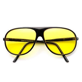 Amarelo matizado dirigindo lente Teardrop retrô plástico óculos de sol aviador