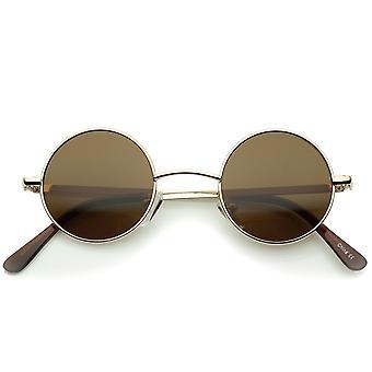 小复古列侬灵感风格中性彩色镜头圆形金属太阳镜 41 毫米
