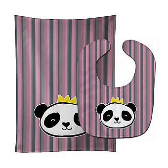 Carolines Treasures  BB7037STBU Panda Bear Queen Baby Bib & Burp Cloth