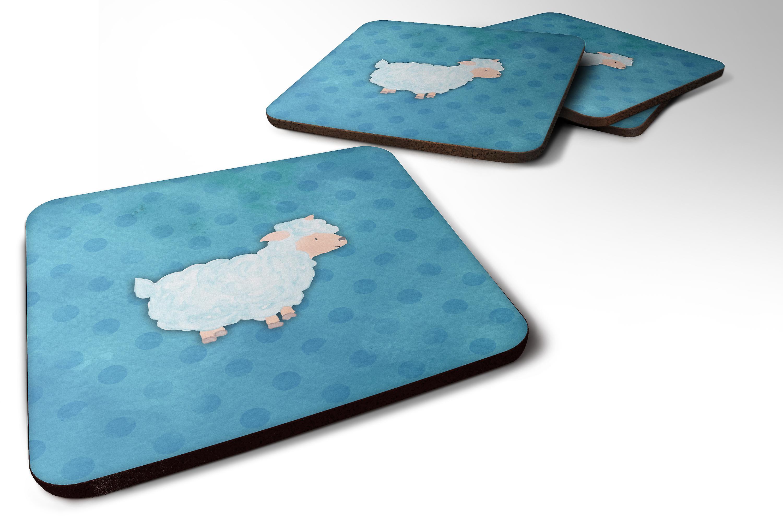 Carolines Treasures BB1006-RS-BU-FC Rhinoceros Shabby Chic Blue Roses Foam Coasters Set of 4 Multicolor 3.5 H x 3.5 W