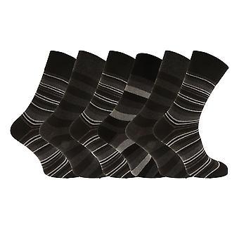 Aler Mens ikke elastisk mørke Stripe kalv sokker (6 par)