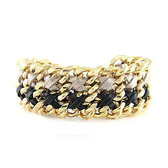 Ettika - Yellow Gold Bracelet and Black and Silver Ribbons 3399