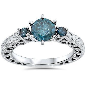 1 1 / 10ct handgravierte Blue Diamond Vintage Verlobungsring 14K White Gold