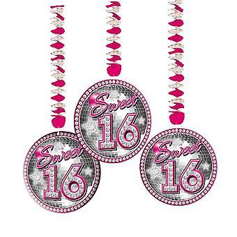 Rotor spoel Dekospiralen Sweet 16 roze Teenieparty verjaardag 3 stuk