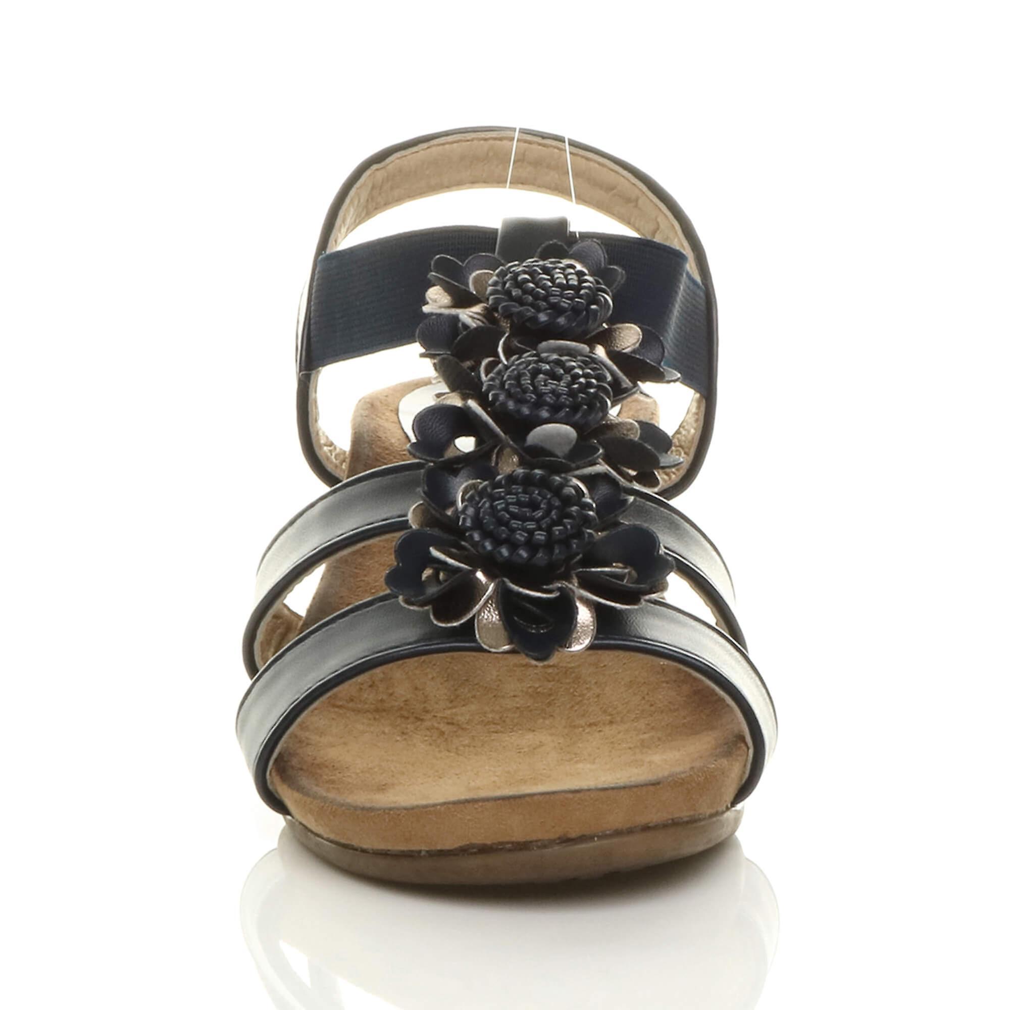 Ajvani womens low mid wedge heel strappy comfort elastic t-bar sandals