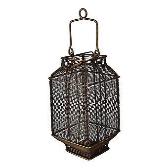 Bronze Spun Wire Metal Square Candle Lantern