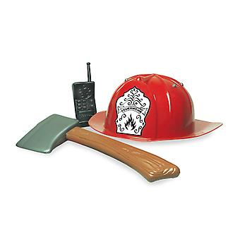Feu allumé 3 PCs pompier casque hache walkie talkie accessoire Carnaval