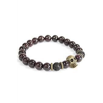 Attitude Clothing Bronze Skull Blood Stone Gemstone Bracelet