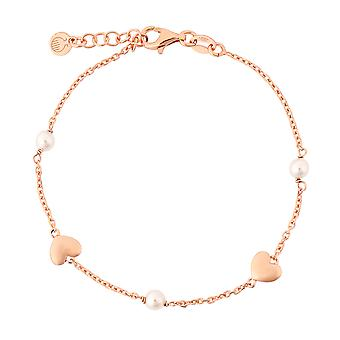Orphelia Silver 925 Bracelet  Rose Gold  Pearl  17+1.5 cm  ZA-7378
