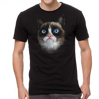Grumpy Cat grote norse gezicht mannen zwart grappig T-shirt