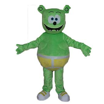 mascot Teddy SPOTSOUND, green monster with a yellow slip