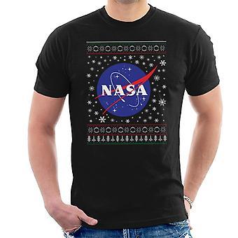The NASA Classic Insignia Christmas Knit Pattern Men's T-Shirt