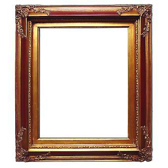 Träram i guld och röd, innermått 50x60 cm