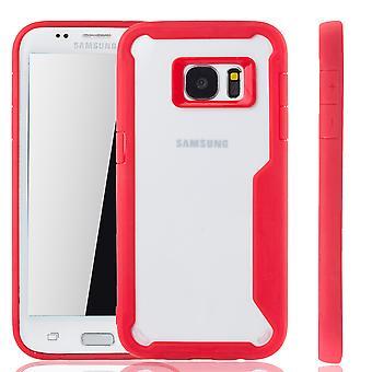 Punainen Premium Samsung Galaxy S7 reuna hybridi edition kansi. Tukee Langaton lataaminen | hieno akryyli pehmeä silikoni rengas punainen