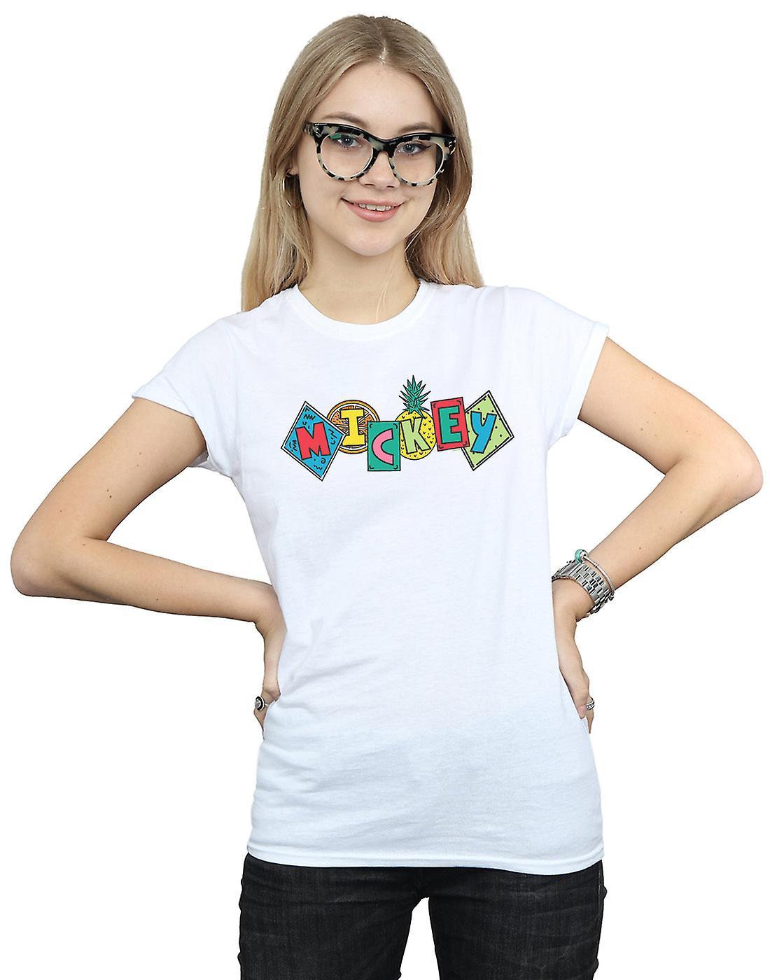 Disney Women's Mickey Mouse Fruit Blocks T-Shirt