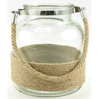 Laternenglas mit Seilgriff 16,5 cm