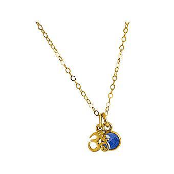 Gemshine YOGA Ohm ketting 925 zilver, verguld, Rose 1,3 cm blauwe saffier