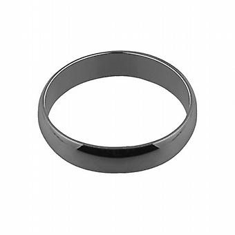 Platinum plain D shaped Wedding Ring 5mm wide in Size Z