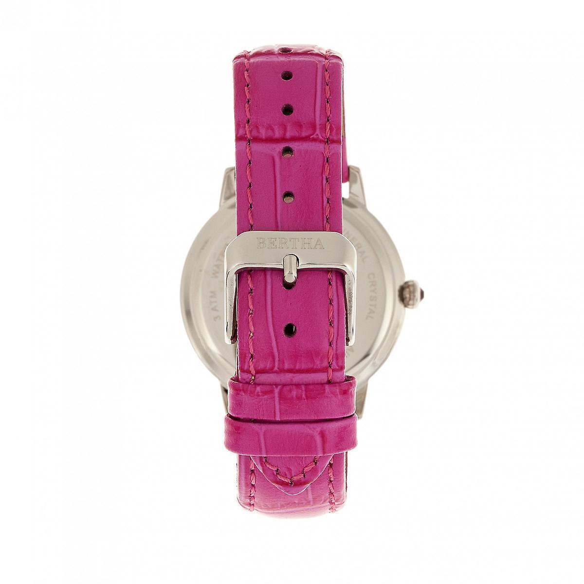 Bertha Madeline MOP Leder-Band Armbanduhr - Hot Pink