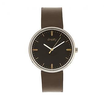 Simplify The 4500 Leather-Band Watch - Silver/Umber