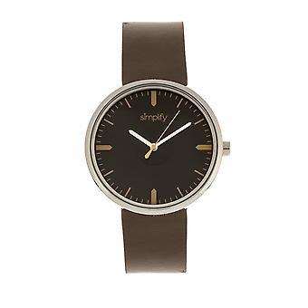 Yksinkertaistaa 4500 nahka bändi Watch - hopea/Umbra